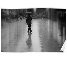 Dancing in the rain on the Champs-Élysées (Paris, France) Poster