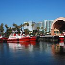 Red Work Boats by Walt Conklin