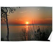 sunset over lake Huron Poster