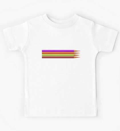 Colored pencils on yellow background Kids Tee