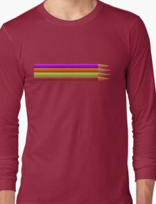 Colored pencils on yellow background Long Sleeve T-Shirt