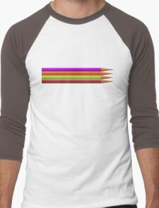 Colored pencils on yellow background Men's Baseball ¾ T-Shirt