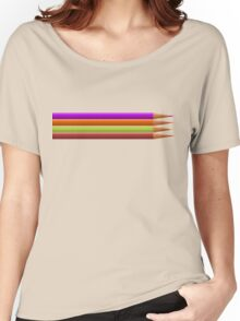 Colored pencils on yellow background Women's Relaxed Fit T-Shirt