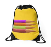 Colored pencils on yellow background Drawstring Bag