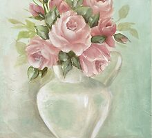 Pitcher of Roses Shabby Chic  by Chris Hobel