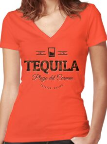 Tequila Vintage Typography Badge Women's Fitted V-Neck T-Shirt