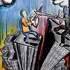 One Man Civil War- battle atop the buildings by andrewcartwork