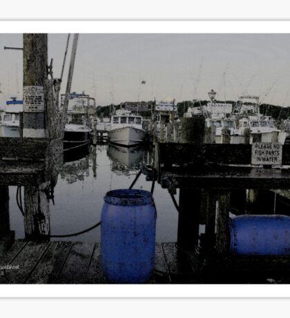 Blue Barrels at the Marina Sticker
