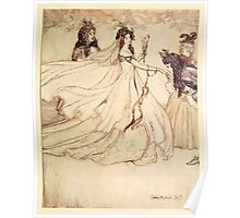 Snowdrop & Other Tales by Jacob Grimm art Arthur Rackham 1920 0053 Ashenputtel Goes to the Ball Cinderella Poster