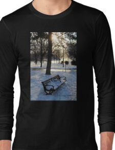 A Wintry Bench at Niagara Falls Long Sleeve T-Shirt