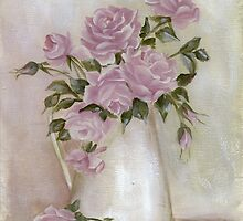 shabby chic pastel roses in white pitcher by Chris Hobel