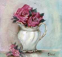 Milk Jug Shabby Roses by Chris Hobel