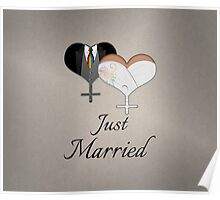Just Married Dress and Tux Hearts Tie Poster