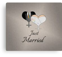 Just Married Dress and Tux Hearts Tie Canvas Print