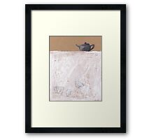 Black tea pot and three cups Framed Print