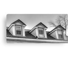 3 windows of the attic-B&W version Canvas Print