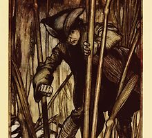 Gulliver's Travels by Jonathan Swift art Arthur Rackham 1899 0103 Gulliver is Struck With Fear Brobdingnagian Reapers by wetdryvac