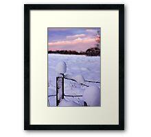 Snowy Fence Post Framed Print