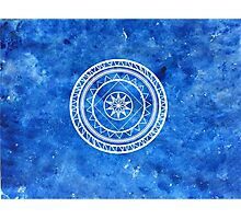 Blue sponge mandala Photographic Print