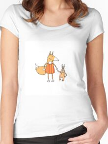 Fox and hare. Women's Fitted Scoop T-Shirt