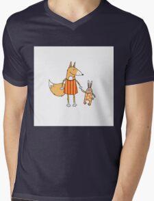 Fox and hare. Mens V-Neck T-Shirt