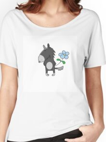 Wolf with a flower. Women's Relaxed Fit T-Shirt