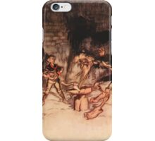 Snowdrop & Other Tales by Jacob Grimm art Arthur Rackham 1920 0203 Youth Splits Anvil with Axe iPhone Case/Skin