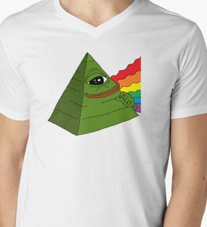 Illuminati pepe - Dark side of the pepe.  Mens V-Neck T-Shirt