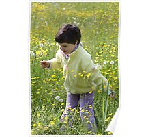 A happy child among the flowers Poster