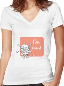 I am the robot. Women's Fitted V-Neck T-Shirt