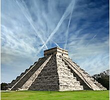 Ancient Chichen Itza Mayan Kukulcan pyramid in Mexico Photographic Print
