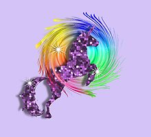Sparkly Glittery Purple Unicorn And Rainbow by Artification