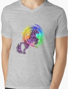 Sparkly Glittery Purple Unicorn And Rainbow Mens V-Neck T-Shirt