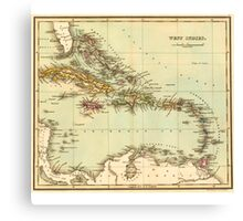Antique Map of the West Indies Canvas Print