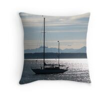 Sailboat against the Backdrop of the Olympic Mountains Throw Pillow