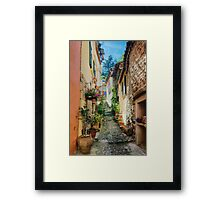 A narrow street in Provence village Framed Print