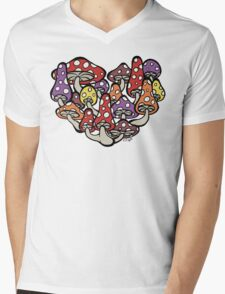 I Heart Mushrooms Mens V-Neck T-Shirt