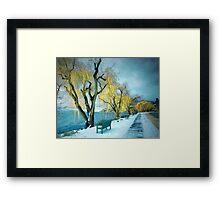 Lakeshore Walkway in Winter Framed Print