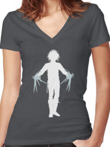 Wanna Play Scissors, Paper, Stone? Women's Fitted V-Neck T-Shirt