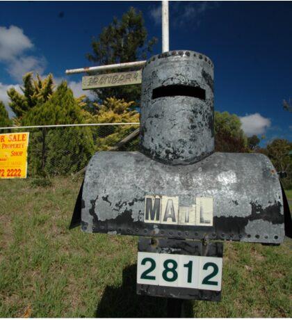 Letterbox (Ned Kelly helmet-shaped), Lue, NSW, Australia Sticker