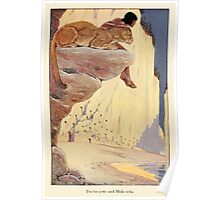 The Trail Book by Mary Hunter Austin art Milo Winter 1918 0127 Tse Tse Yote and Moke Icha Poster