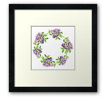 Blooming lilac branch wreath. Floral pattern. Framed Print