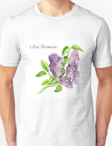 Blooming lilac branch pattern. Pink and violet watercolor flowers . Floral pattern.  Unisex T-Shirt
