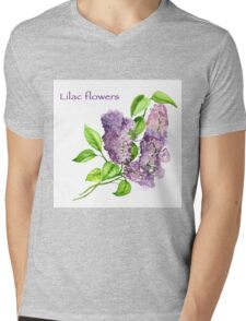Blooming lilac branch pattern. Pink and violet watercolor flowers . Floral pattern.  Mens V-Neck T-Shirt