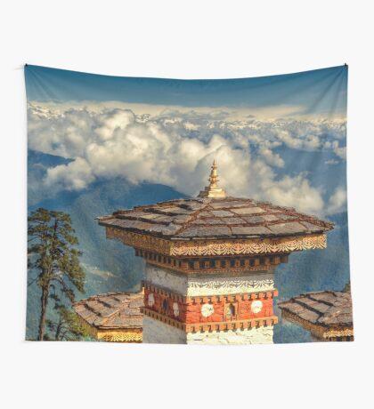a historic Bhutan landscape Wall Tapestry
