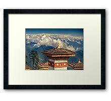 a historic Bhutan landscape Framed Print