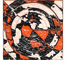 Orange And Black Abstract Circles Photographic Print