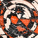Orange And Black Abstract Circles by Phil Perkins