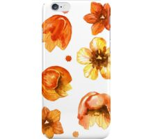 Watercolor isolated tulips and red watercolor splashes.  iPhone Case/Skin