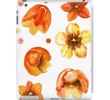 Watercolor isolated tulips and red watercolor splashes.  iPad Case/Skin